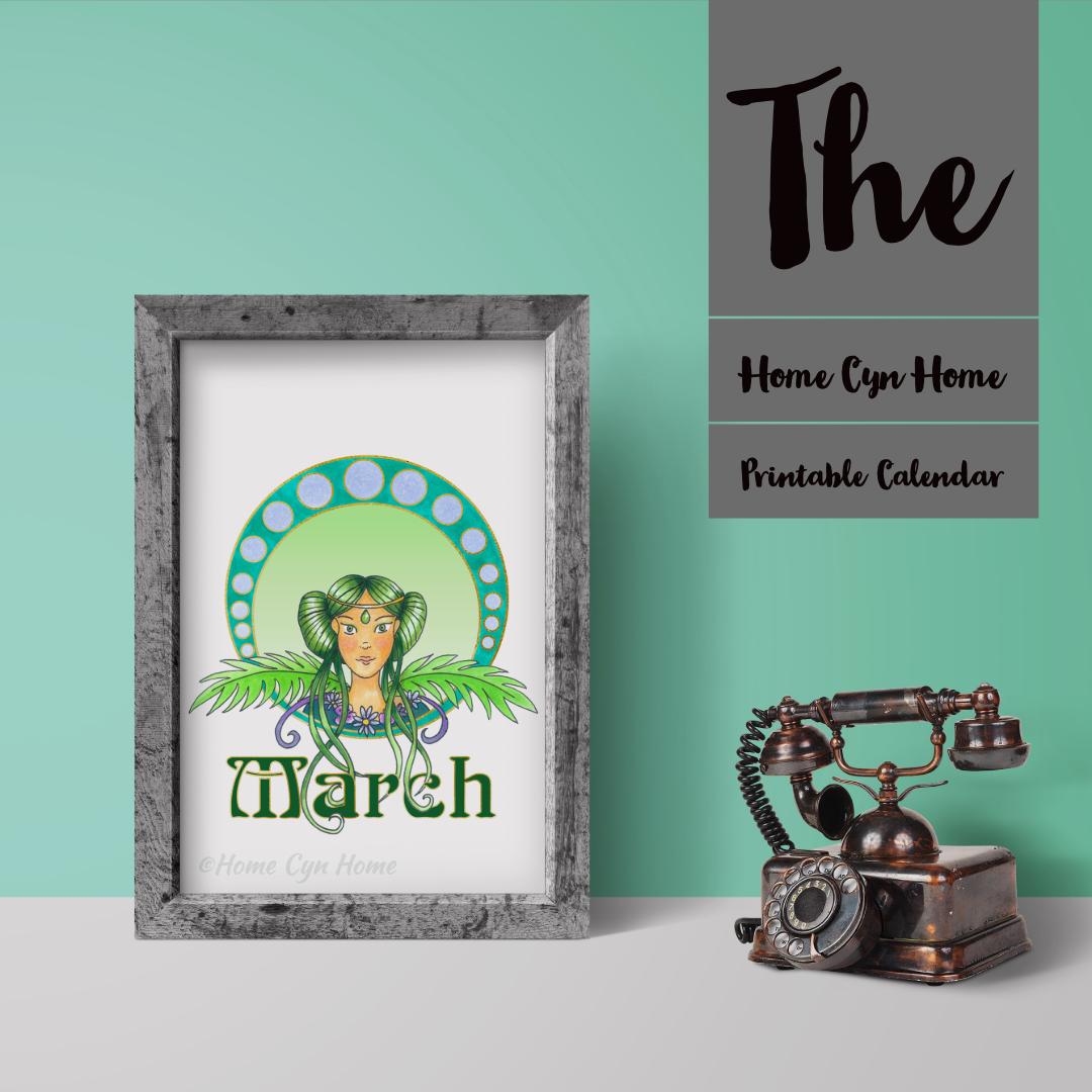March 2019 Printable Calendar Home Cyn Home
