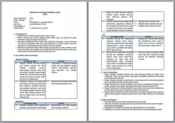 RPP Kelas 5 Semester 1 Kurikulum 2013 Revisi Terbaru