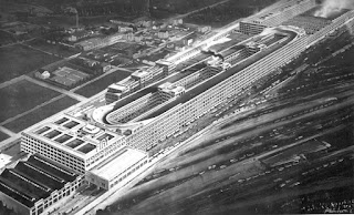 The futuristic Fiat plant in the Lingotto district in Turin,  with its famous rooftop testing track