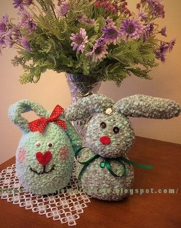 skarpetkowe zające, Wielkanoc, handmade