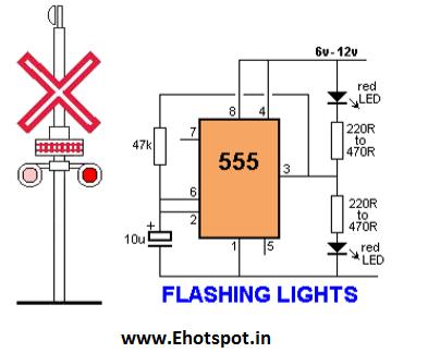 Rail Road crossing Flashing LED using 555 IC ~ Electronics