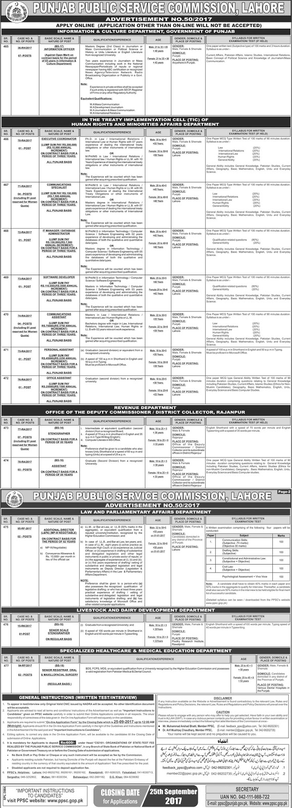 Latest Punjab Public Service Commission Jobs 2017