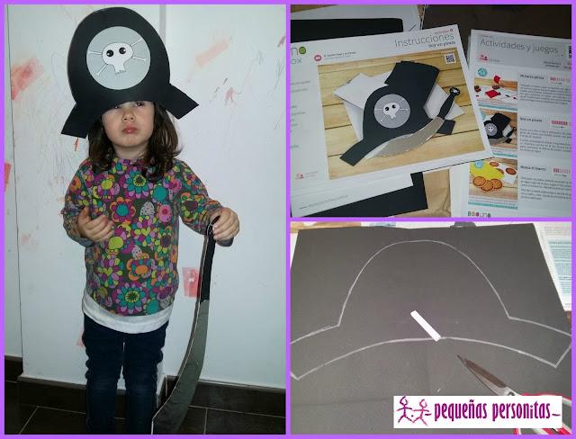 DIY, manualidades, Boolino, disfraz, sombrero pirata, espada pirata, caretas, animales, mascaras de animales, manualidades para niños, plantillas, El capitán Hugo y los piratas