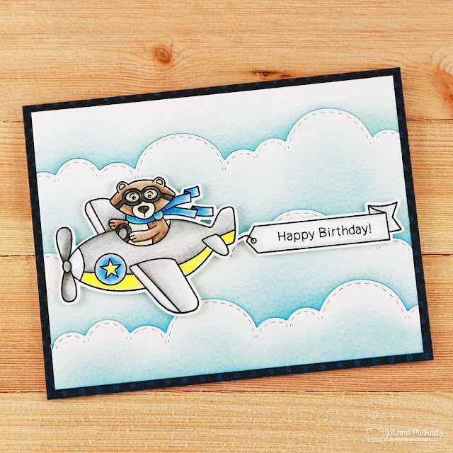 Happy Birthday Card by Juliana Michaels featuring Newton's Nook Designs Winston Takes Flight Stamp and Die Set and Sky Border Dies