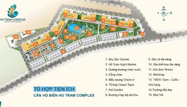 Mặt bằng tiện ích nội khu trong siêu dự án Hồ Tràm Complex