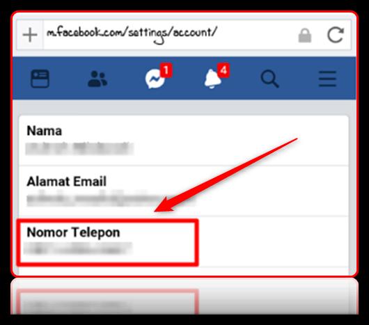 mengganti nomor utama facebook
