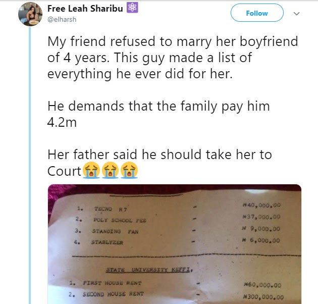 Nigerian man whose girlfriend of 4-years refused to marry him reportedly demands she pay him back all he spent on her (A must see List