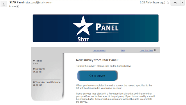 Star panel e-mail survey invitation