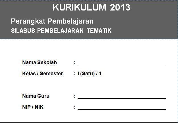 Silabus Kurikulum 2013 Integrasi SD Kelas 1