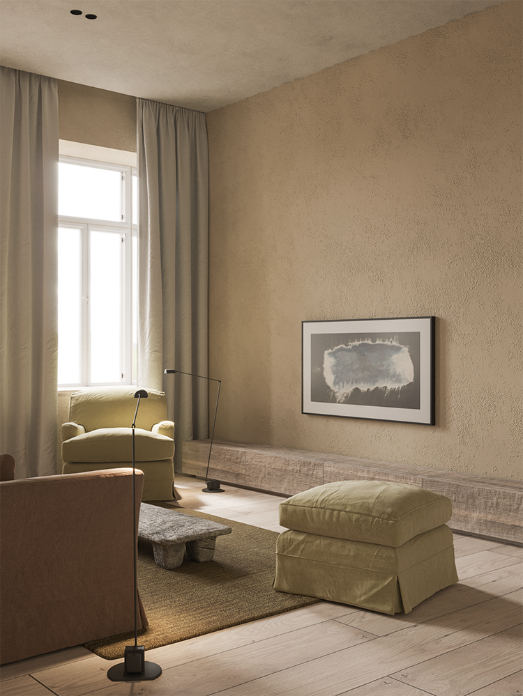 Minimalistic rustic home with soft textures and neutral palette designed by Evgeniy Bulatnikov