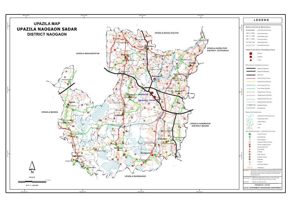 Naogaon Sadar Upazila Map Naogaon District Bangladesh
