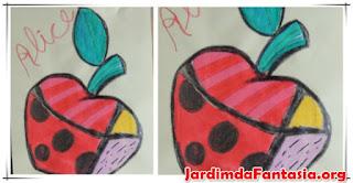 Pintura com desenho vazado Maçã Romero Britto