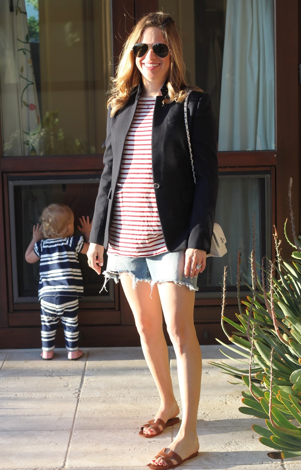 maternity stripes and blazer