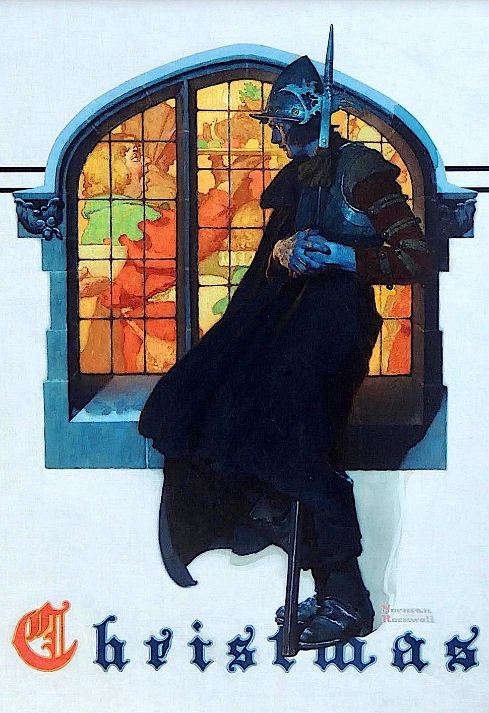 a Norman Rockwell illustration, the Christmas guard on duty