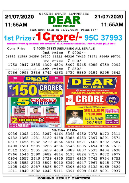 Sikkim State Lotteries 21-07-2020 Lottery Sambad Result 11:55 AM
