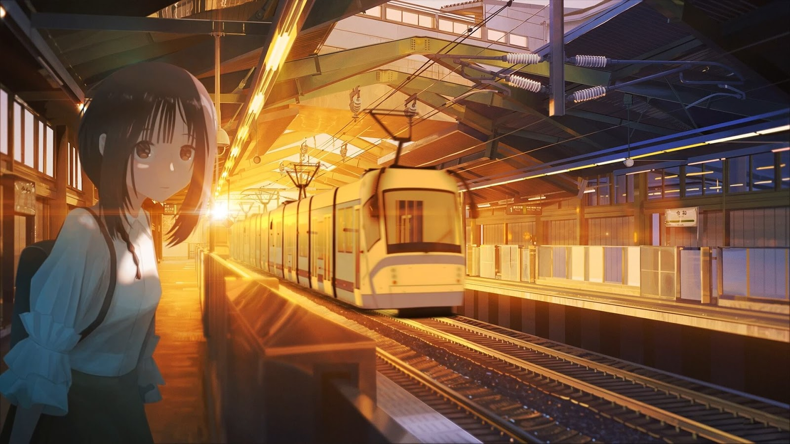 Waiting at Station [Wallpaper Engine Anime]