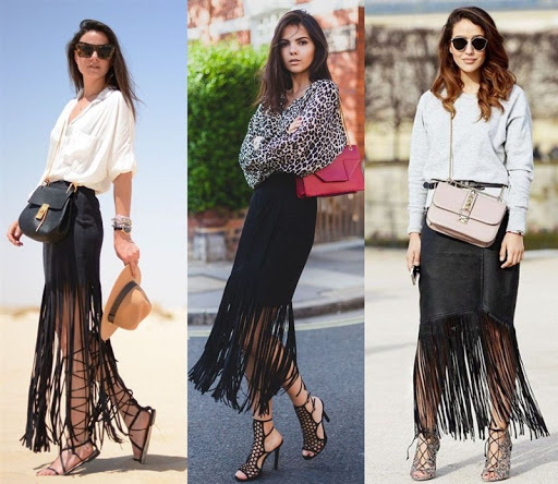long black fringe skirt