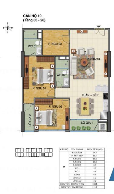 Căn hộ số 10 tòa nhà Trường Thành B- Tràng An Complex