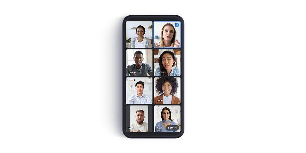 Fino ad 8 partecipanti in una schermata su smartphone per Google Meet