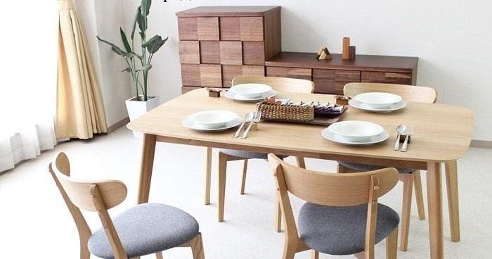 Mebel Furniture Set Meja Makan Scandinavian Kayu Jati