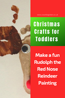 Christmas Crafts for Toddlers. Make a fun Rudolph the Red Nose Reindeer Painting