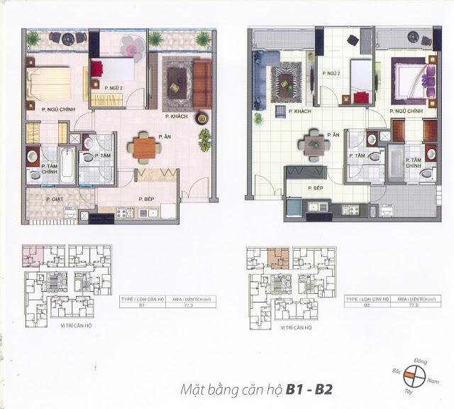 Mặt bằng thiết kế căn hộ B1-B2 - 77m - South Building