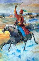 Elinde bir mesaj taşıyan atlı bir ulağı gösteren tablo