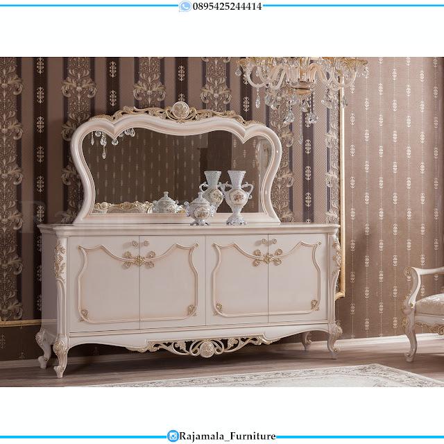 Meja Konsul Mewah Jepara Luxury Design Putih Duco Glossy RM-0469