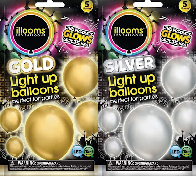 Illoom Balloons giveaway gold and silver LED light up