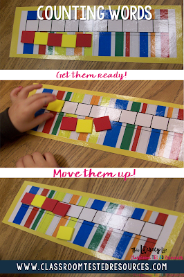 For counting words, give students a short sentence. They then move a tile up for each word in the sentence.