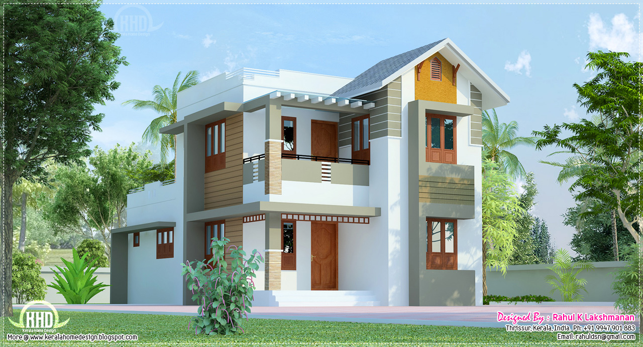 Cute villa exterior design in 1200 square feet home for Exterior design photos