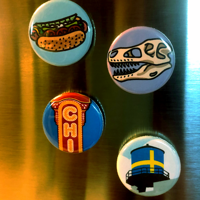 Chicago flare on my fridge with Chicago Round Magnets from Transit Tees