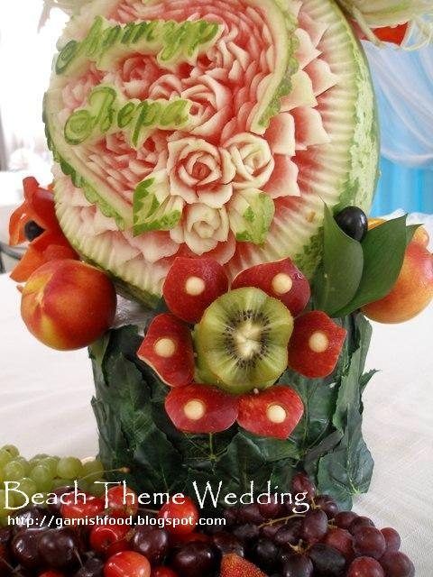 wedding buffet fruit carving
