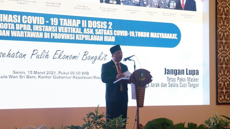 Sekdaprov Kepri Menghadiri Pencangan Vaksinasi Tahan II Dosis II Kepada TNI,Polri dan Anggota DPRD Kepri