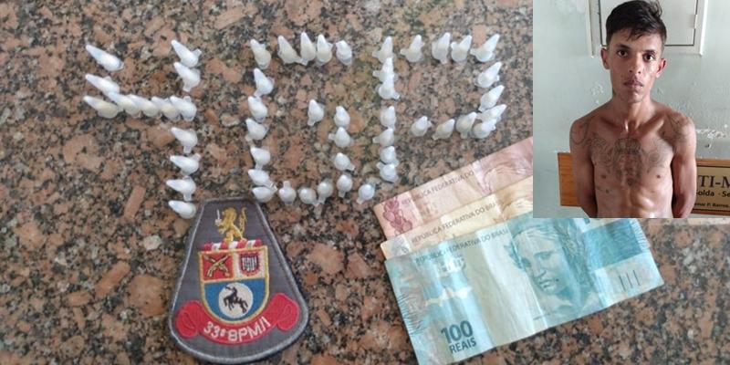 Rapaz é preso por tráfico de drogas com 51 pinos de cocaína em Cajobi