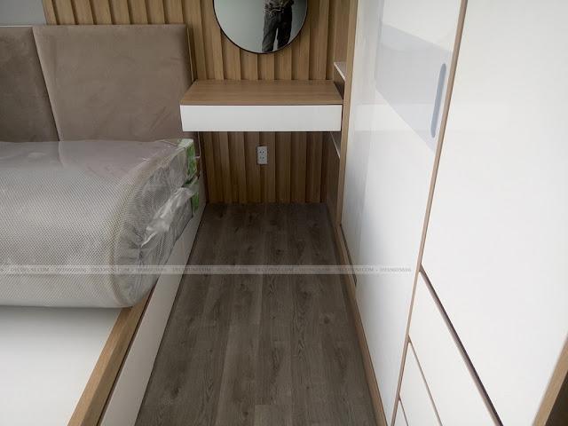 Hình thực tế thiết kế và thi công xây dựng thô đến hoàn thiện full nội thất căn hộ chung cư Saigon South Residences Phú Mỹ Hưng - SSR - Phòng Master