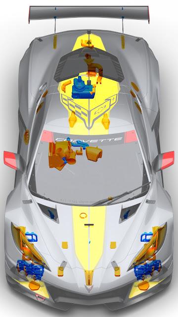 Chevrolet Corvette C8.R with 3D-printed parts.