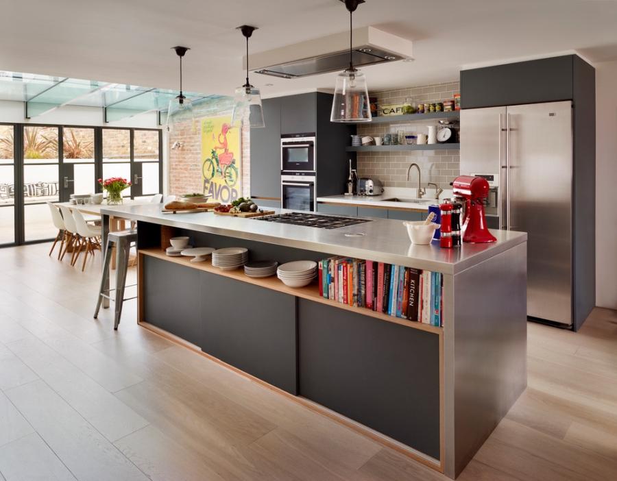 wystrój wnętrz, wnętrza, urządzanie mieszkania, dom, home decor, dekoracje, aranżacje, kitchen, open space, industrial style, modern, kitchen island, dining room, kuchnia, styl nowoczesny, styl industrialny, styl przemysłowy, otwarta przestrzeń, wyspa kuchenna, jadalnia