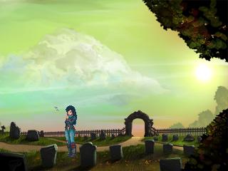 Kathy en un cementerio.