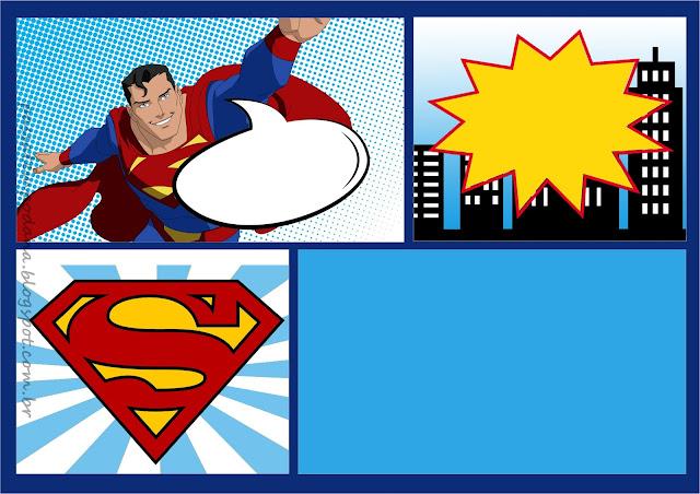 Para hacer invitaciones, tarjetas, marcos de fotos o etiquetas, para imprimir gratis de Superman Comic.