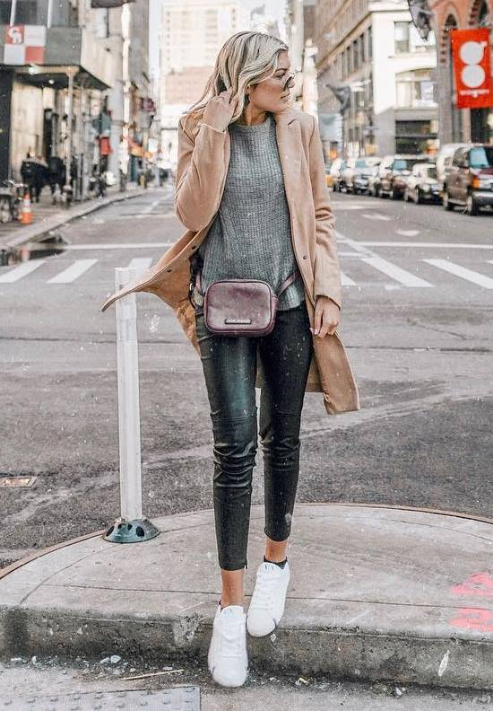 trendy fall outfit / beige coat + sneakers + black leather pants + bag + sweater