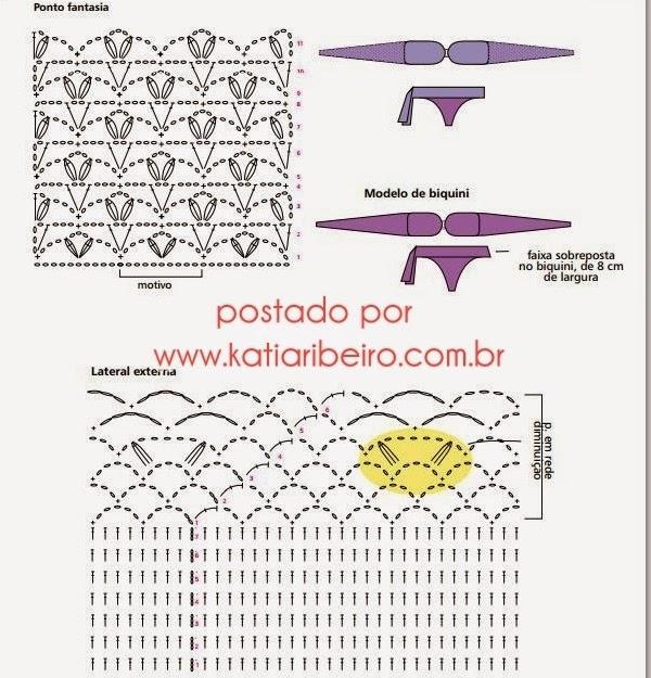 65cacfcb38 Biquíni em crochê com gráfico e receita - Katia Ribeiro Crochê Moda ...