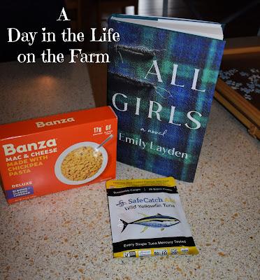 novel, box of pasta, package of tuna