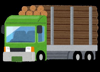 木材を運ぶトラックのイラスト