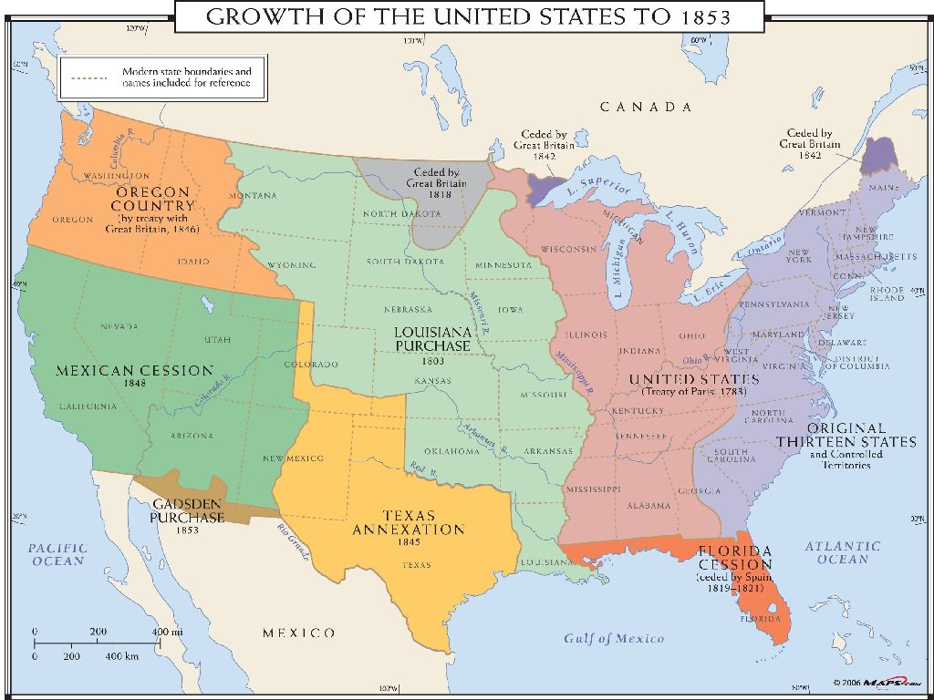 growth of the united states map