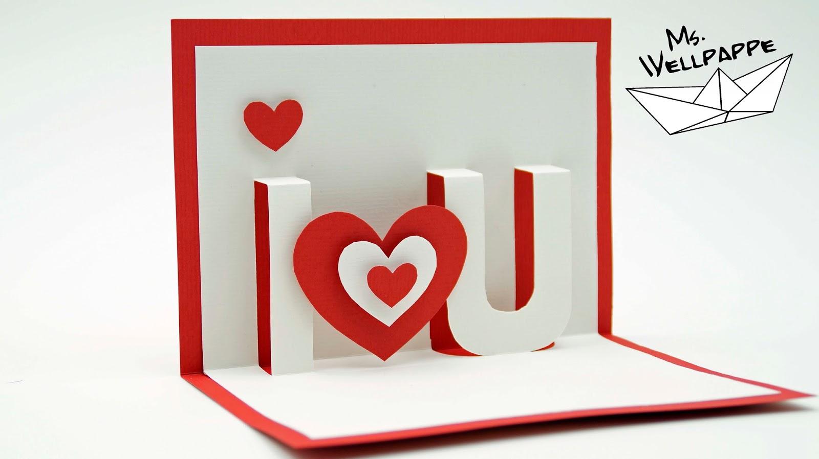 basteln und mehr pop up karte basteln i love you. Black Bedroom Furniture Sets. Home Design Ideas