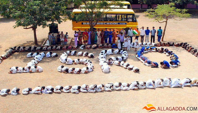 BBR High School Students in the ground formed a signature style to congratulate isro scientists allagadda