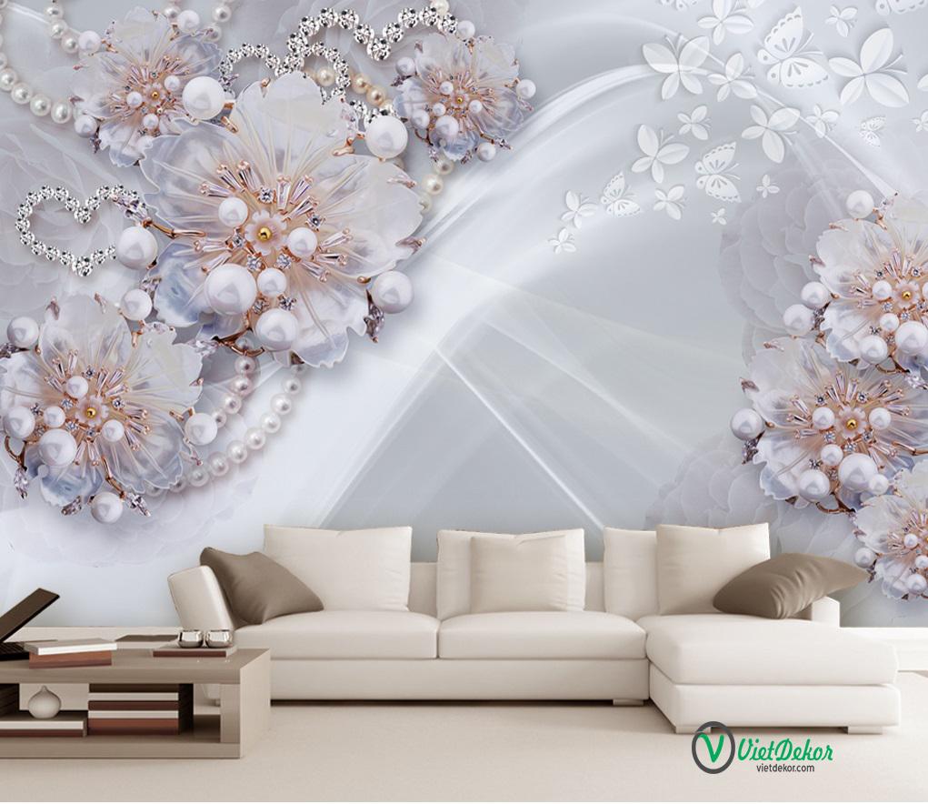 Tranh dán tường 3d hoa mẫu đơn ngọc trai