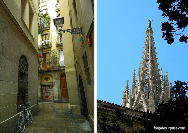 Barcelona: uma rua de El Call, o bairro judeu, e a agulha da torre da Catedral