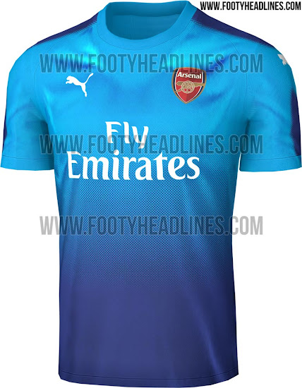 c20be1df66b The Arsenal 17-18 away shirt s official colors are Blue Danube (light blue)  and Limoges (dark blue).